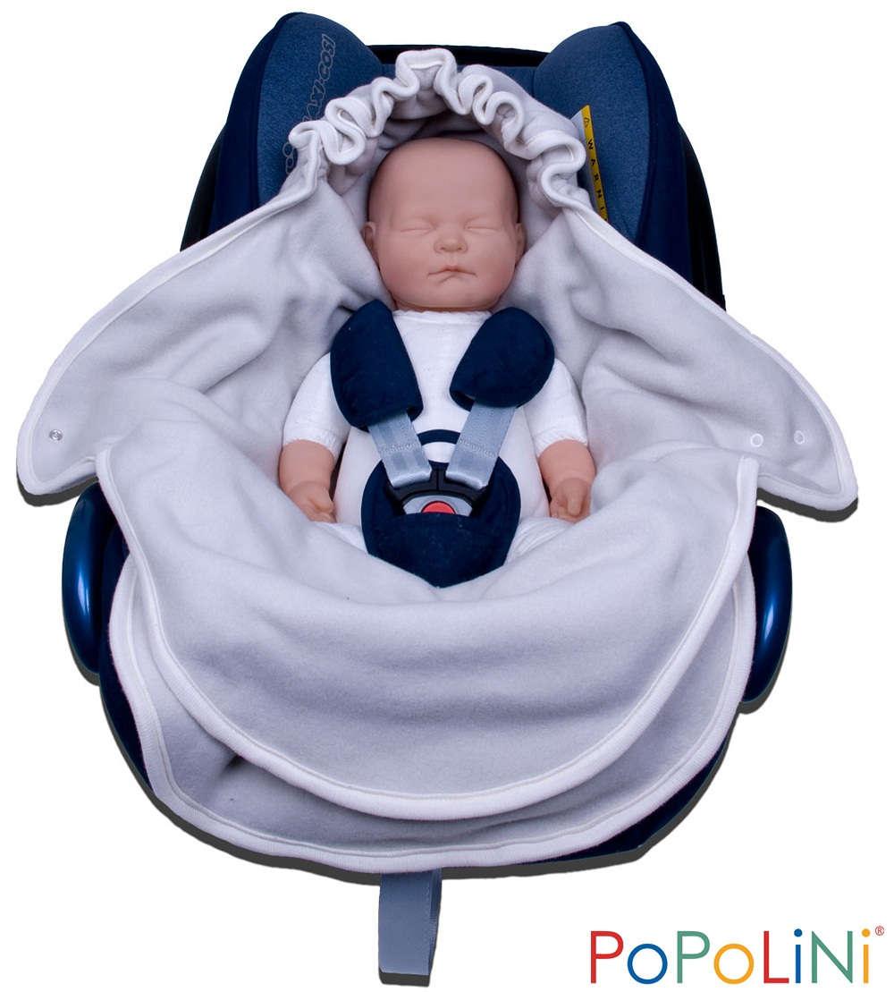 Popolini Baumwollvliessack für Babyschale Kuscheldecke Einschlagdecke für Auto